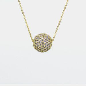 Comprar colgante de bola de tanzanitas. Plata cubierta por oro