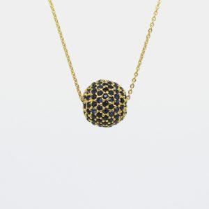 Colgante con bola de zafiros azules. Plata cubierta por oro