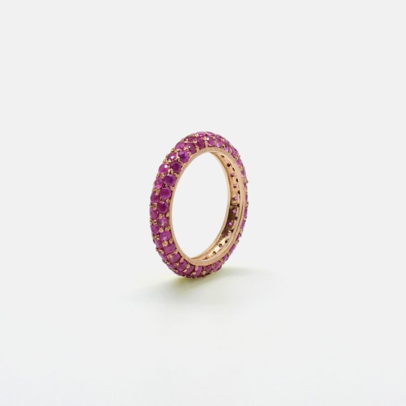 Anillo Rounds Eternity con Rubies