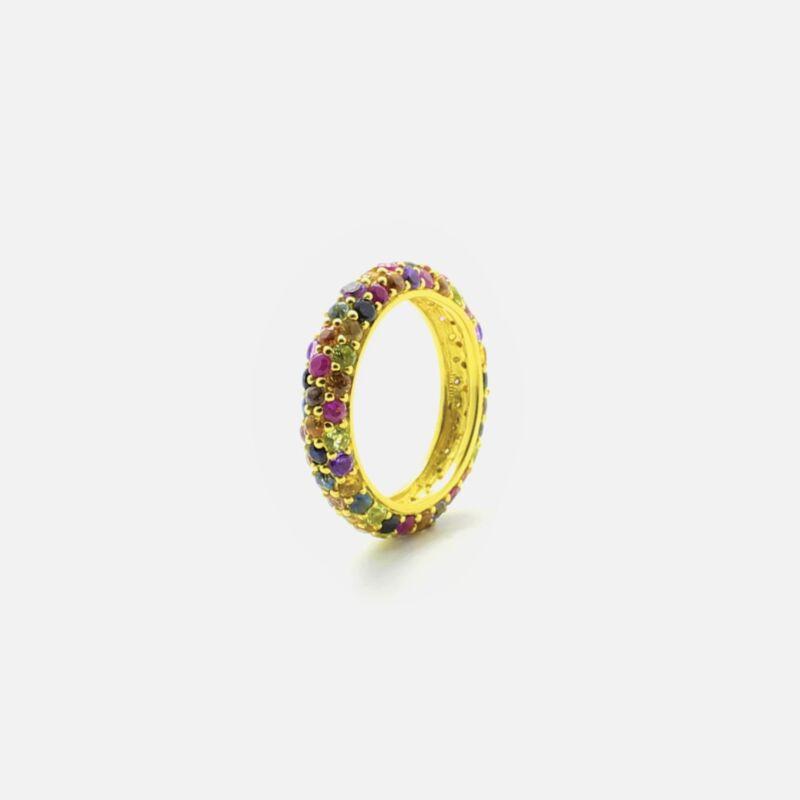 Anillo Rounds Eternity con Zafiros Multicolor