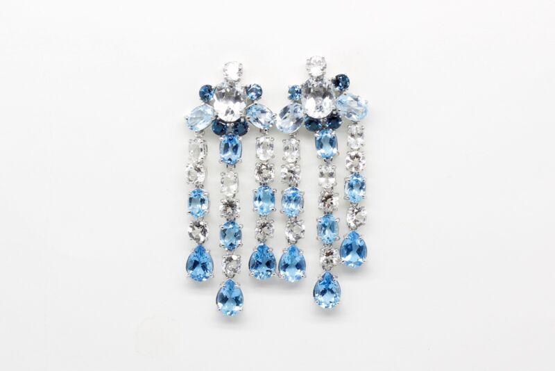 Pendientes Lágrima con topacios azules y blancos