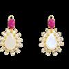 Colgante Dalia con Piedra Luna Arco Iris, topacios blancos y rubí