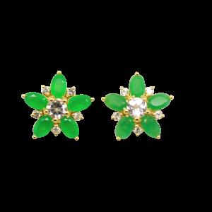 Pendientes Estrella con Jade Verde y Topacios Blancos