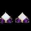Pendientes Trébol con Piedra Luna Arco Iris y Amatista