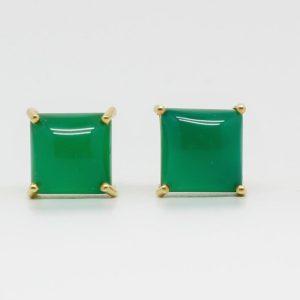 Pendientes Square con Onix verde